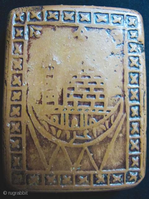 Old SHIA clay praying tablet (TURBA). Najaf or Karbala. 5 x 4 x 0.5 cms.