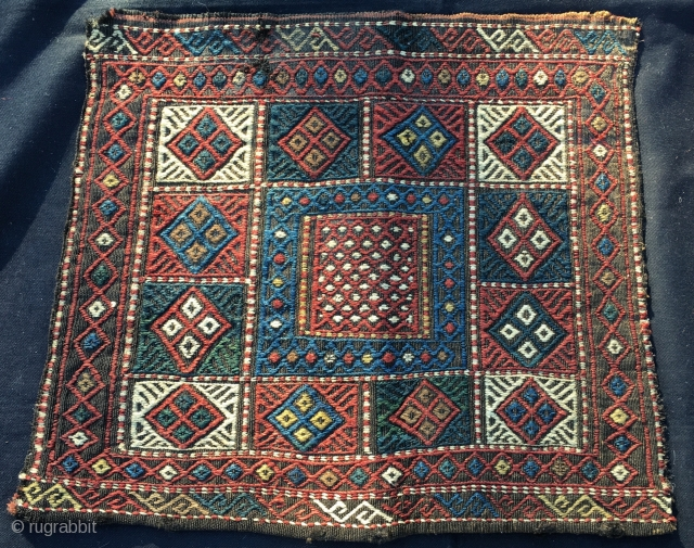 Kurdish bag face. Cm 50x50 ca. End 19th c. Simple, nice, beautiful & in good condition. Not expensive. --- Not good enough for you? See my other posts: https://www.rugrabbit.com/profile/580