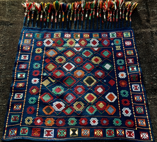 """Azerbaijan verneh horse/donkey cover. Cm 82x92 plus tassels cm 26. Early 20th c. Wonderful verneh example in mint condition. Most colors seem natural. Fantastic tassel work. As somebody said: """"For aristocratic donkeys  ..."""