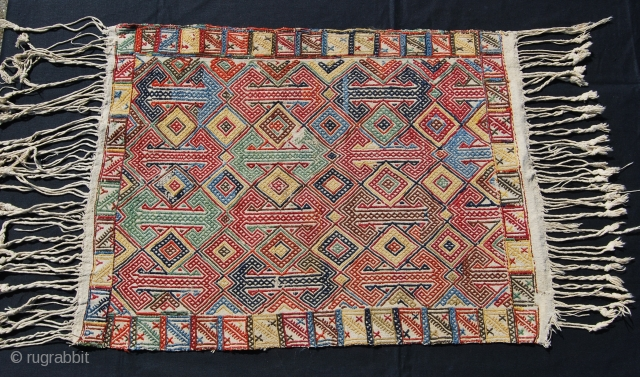 Anatolian cover. Cm 61x83. Early 20th century. Wool weft float brocading on cotton. Lovely workmanship. Wonderful, soft, natural dyes. Great pattern. In good condition. See a similar piece in the book: From  ...