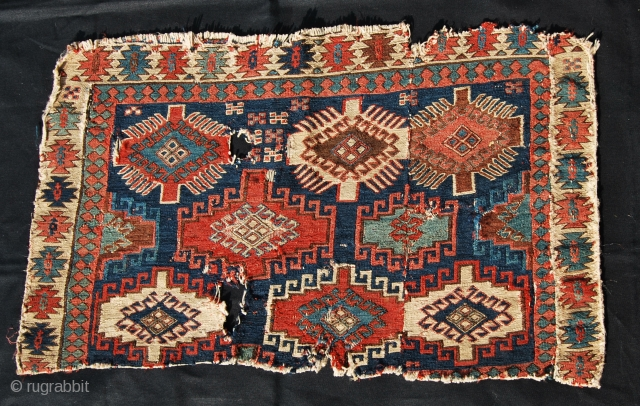 Mogan Shahsavan Memling gul Sumack Mafrash panel fragment. Cm 47x81. Datable mid 19th century, if not earlier. Great pattern, great colors. Imho this a really great, great piece. It has aura, character  ...
