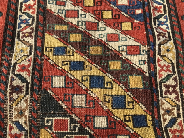 Great Caucasian not too long beautiful rug. Cm 90x275. Could be Talish? Could be Gendje? Doesn't matter, it's really an amazing rug with lovely pattern with all those diagonal stripes, the various  ...