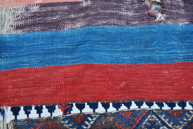 Malatya open cuval fragment - cm 196x88 -late 19th century -  wool & cotton - great natural dyes - madder red, deep indigo blue, light indigo blue, aubergine, light & strong  ...