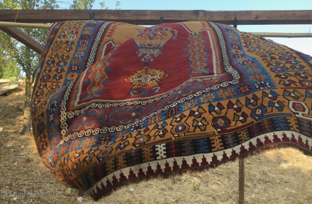 Yahyali kilim - Central Anatolia, Turkey - Prayer design with lamp - cm 134x208 or ft 4.3x6.8 - Early 20th century or earlier  - great condition