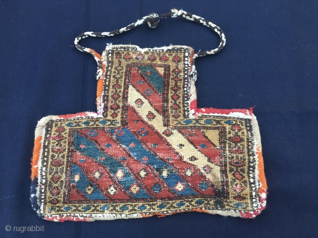 Shahsavan namakdan/salt bag. Cm 35x46. 1890/1900sh. Lovely tribal art example. Used and in good condition. Great colors. More infos and pics on rq.