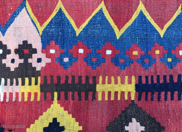 Maimana, cm 215x340. Woven in the Maimana valley, northern Afghanistan, by the Uzbek tribes end of the 19th, or early 20th century. Coarse, hand spun wool. Warp is thick brown. Wonderful natural  ...