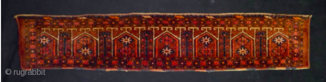 Turkmen Ersari trapping. Cm 33x170. Late 19th/early 20th century. In good condition, full pile. Beautiful collection item. Lovely yurt design with trees in between. The graphic is great!