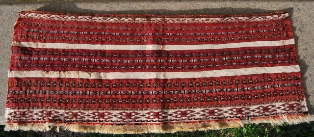 Turkman Tekke Ak torba. Cm 34x87. Antique, great cochineal, cotton, fine drawing, good condition, beautiful.