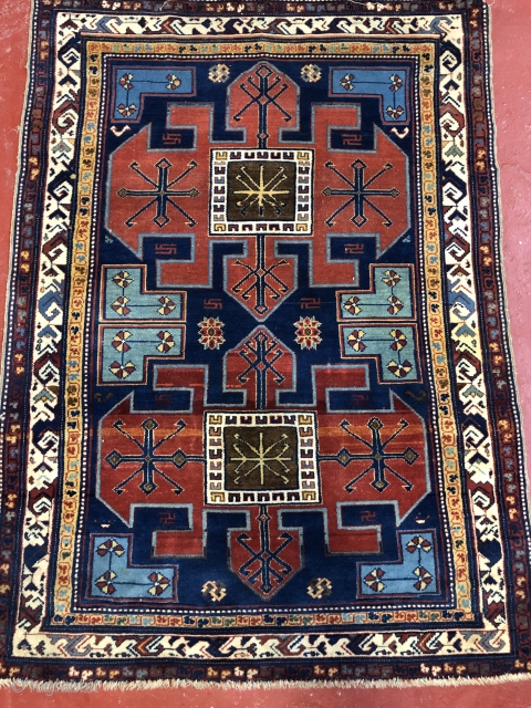 Beautiful Caucasia from  circa 1900 in very good condition all natural colors size is 3.2x5 no repair soft wool