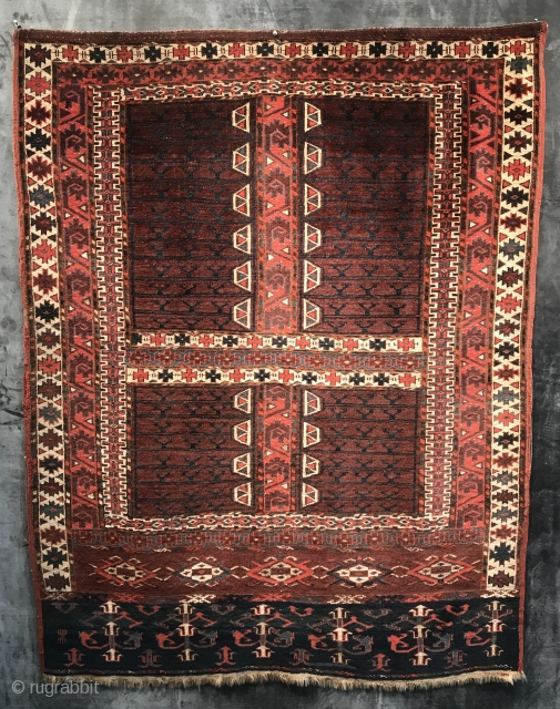 """A Stunning and Fine Yomud Engsi, West Turkestan, Mid 19th century, 5'4"""" x 4'1"""". Exhibited in """"Rugs from Private Collections in the Thirteen Original States"""", Marketplace Design Center, Philadelphia, Eight International Conference  ..."""