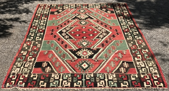 Large flat woven rug. Good condition, no repairs. Contact for additional images.