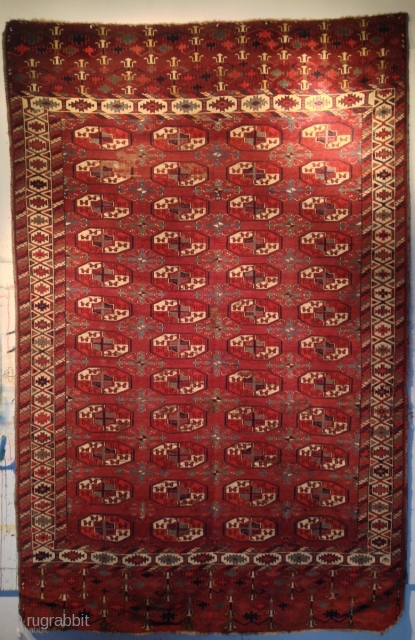 """Yomud Main Carpet. All natural dyes, no re-weaving, rich saturated colors. Some wear. Circa 1800. 9' 3"""" x 5' 10"""". a fine example with exceptional forms. From a known collection and a  ..."""