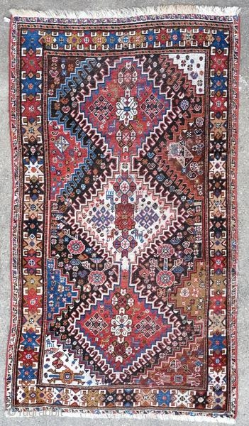 Ghashghai rug, Persia, around 1900.  Origin : Persia Period : around 1900 Size : 165 x 90 cm Material : wool on wool Worn Vegetable dyes Handwoven  This rug has been cleaned by a professional.  ✦ Price and photos on https://www.christiandoux.com/products/ghashghai-rug-165-90