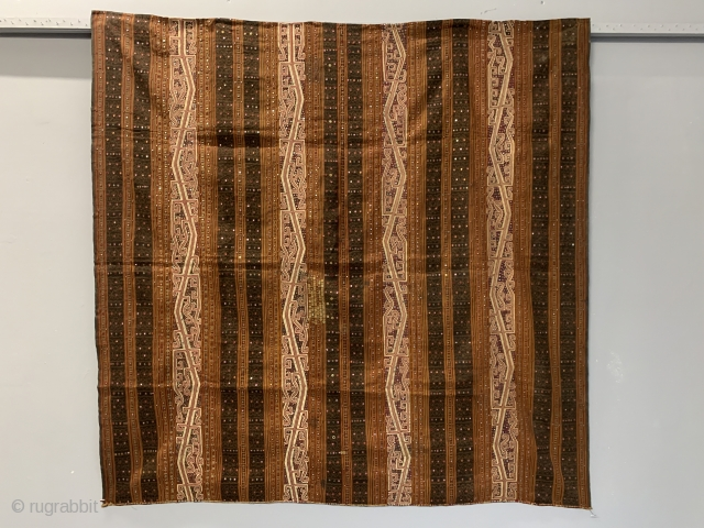 "Sumatran Lumpung Croe Tapis with ikat and mica • early 20th cent • size 131 x 134 cm imperial size 4ft 4"" x 4ft 5"""