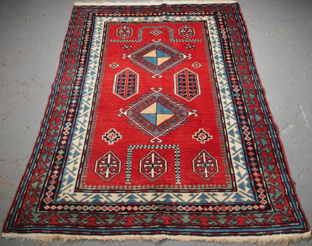 Old Caucasian Erivan rug with Bordjalou Kazak prayer rug design. www.knightsantiques.co.uk