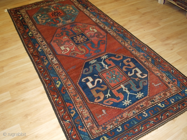 Antique Caucasian Karabagh cloud band Kazak rug. www.knightsantiques.co.uk Size: 8ft 8in x 3ft 11in (263 x 120cm). 