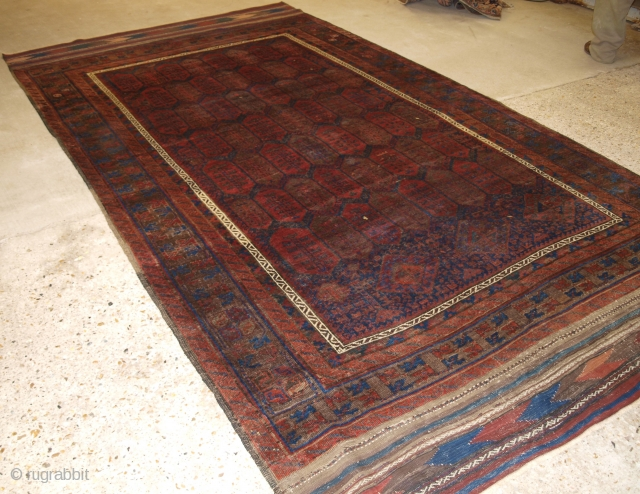 A good antique main carpet by the Baluch of Western Afghanistan. The carpet is of the shrub design with a traditional Baluch border. www.knightsantiques.co.uk Size: 12ft 2in x 6ft 7in (370 x  ...