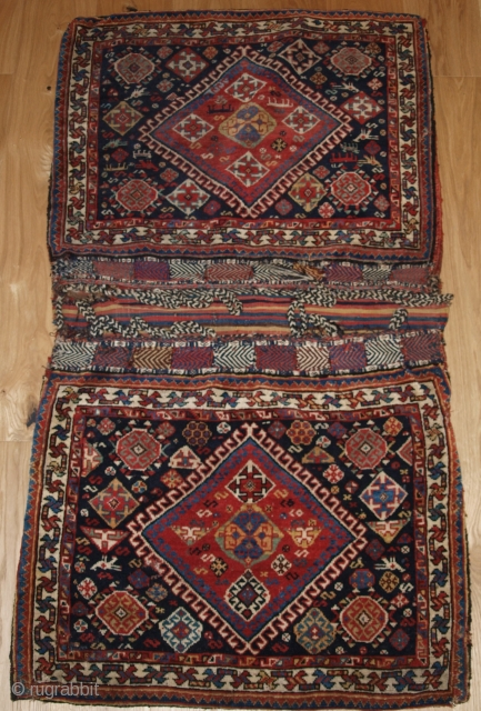 Antique Persian tribal Qashqai Khorjin of large size with plain weave back. www.knightsantiques.co.uk Size: 5ft 11in x 2ft 11in (180 x 89cm). 