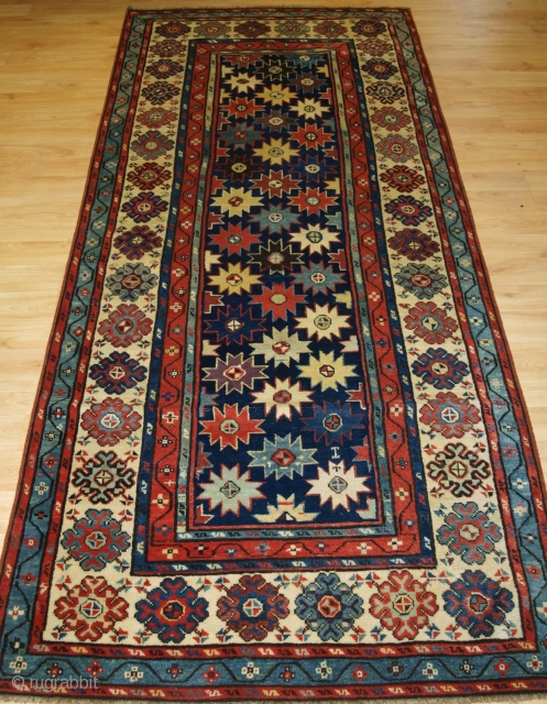 Antique Caucasian Talish long rug with all over star design. www.knightsantiques.co.uk Size: 8ft 6in x 3ft 6in (260 x 107cm).   2nd half 19th century.  A superb example of a Talish long rug, multi  ...