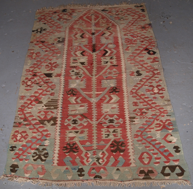 ***SOLD*** Click the link www.knightsantiques.co.uk to view more items. Turkish prayer kilim, some small holes and faults, hence the price. 148 x 96cm.