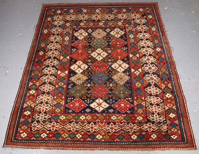 Caucasian Chichi region rug, unusual design, click the link www.knightsantiques.co.uk to view more items. Size: 4ft 8in x 3ft 9in (143 x 114cm).  Antique Caucasian Kuba region rug with scarce design and small  ...