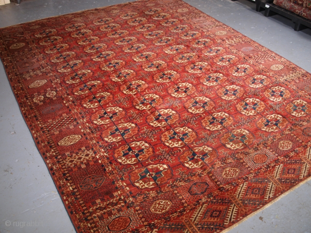 Antique Tekke Turkmen main carpet with 5 rows of 12 large round Tekke guls. click the link www.knightsantiques.co.uk to view more items.