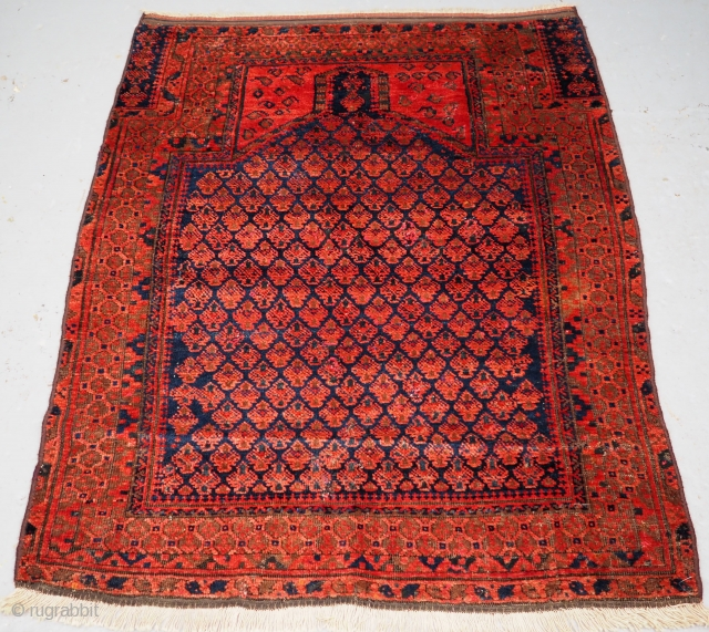 **SOLD** Antique Timuri prayer rug by the Dokhtar-e-Qazi sub tribe of Western Afghanistan. www.knightsantiques.co.uk  Size: 4ft 7in x 3ft 6in (140 x 106cm).  Circa 1880.  The rug is a classic example of a  ...