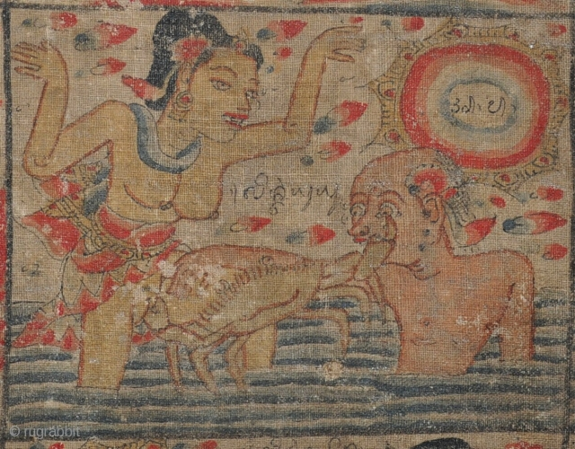 Good lord! Whats going on here...? An old painted, Indonesian textile depicting many unusual scenes, some extreemly graphic. Beautifuly mounted. I know very little about these, but I guess its late 19th  ...