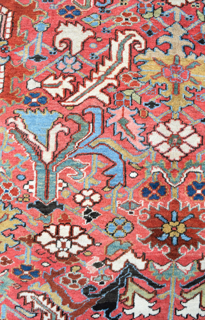 An antique Heriz carpet. allover large scale design woven in soft natural dyes on attractive coral ground flanked by generous sky blue borders. Good solid condition, minimal top flight restoration, deep cleaned  ...