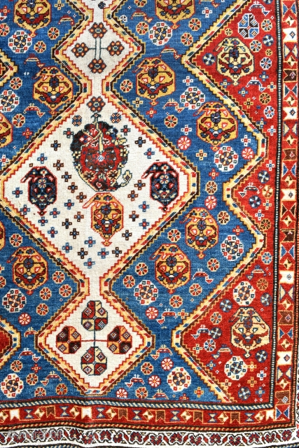 A fine antique Qasgai tribal rug from the Fars region in South Western Persia. Super little rug, tightly knotted, with very good clear natural dyes. A rug that should appeal to both  ...