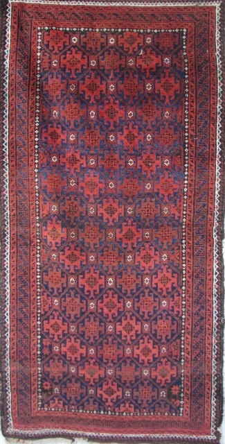 """Antique Belouch Rug  --  39""""  x  64""""  --  All Natural Dyes;  Excellent Condition --  Full Pile with flat woven skirts still remaining."""