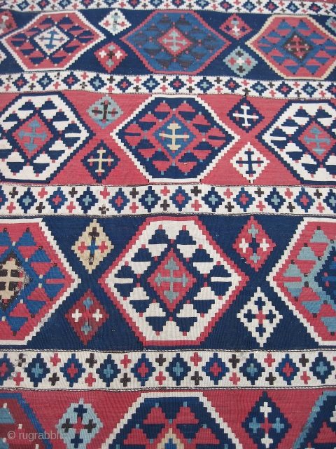 Outstanding Caucasian kilim, 3.2 x 11.1. FIne, old weave, fantastic colors, unusual format, a few small holes and losses at the sides, and some kind of black mark (marker?).  For hanging  ...