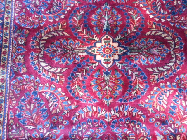 Persian Sarouk, early 20th century, 3-5 x 4-11 (1.04 x 1.50), very good condition, full pile,fine weave, hand washed, painted, ends are overcast, original knotted fringe, original edges, plus shipping.
