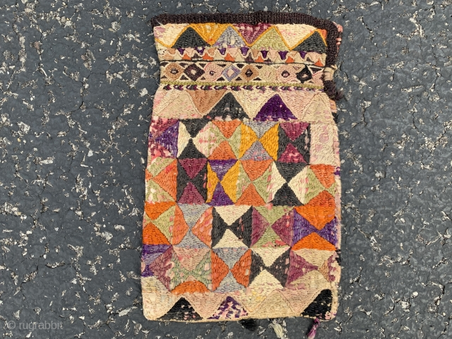 """Uzbek purse,  early 20th century,  5"""" x 8"""" (13 x 20), both sides different, some fading,  cotton/silk, plus shipping."""