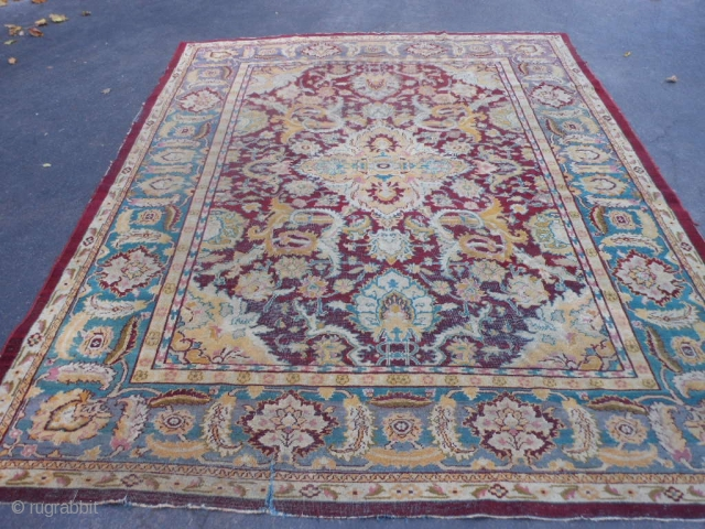 Indian Agra, early 20th century, 8-1 x 10 (2.44 x 3.05), needs wash, 5 inch slit, worn areas, no holes, no rot, edge needs binding work, plus shipping.