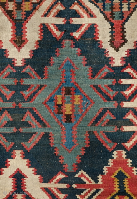 Kuba Kilim, 19th Century. Wafer thin weave.  Wonderful white border which provides a striking and elegant frame.  Deep saturated indigo ground.  In very good condition except for a few  ...