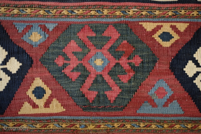 Mianeh Shahsavan Mafrash panel.  Late 19th Century.  Very crisp and clearly poised design.  Has a kind of weighted resonance to it.  In great condition, but for a couple  ...