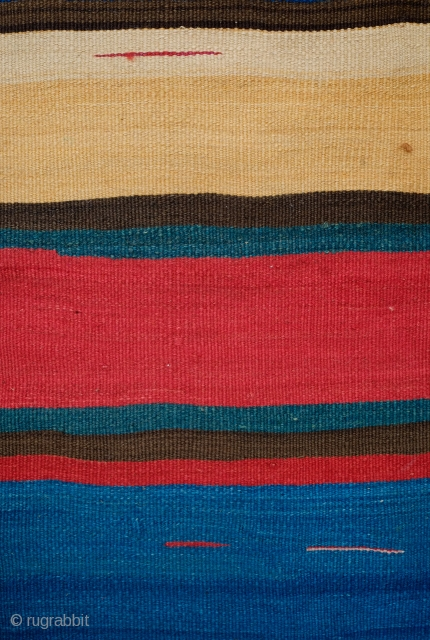 Shahsavan Kilim, 3rd to 4th Quarter of the 19th century.  Outstanding colors, rich and saturated.  Simple meander design in the white bands.  A couple of small stains in one  ...
