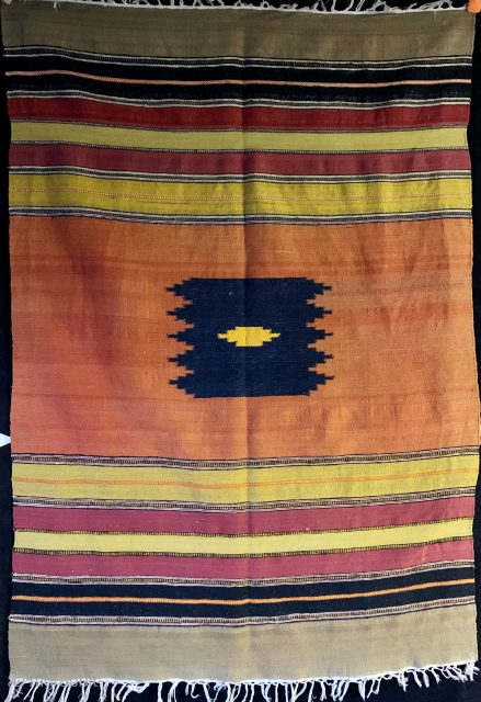 """Antique (first half of the 20th century) Persian sofreh or small kilim.  Very finely woven. 37"""" by 54"""". Please ask for additional photos."""