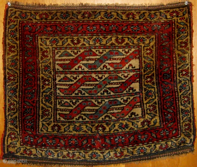 """Antique Kurdish (Bidjar area of Persia) bag face or front, beautiful condition, full pile, natural  dyes.  18"""" by 22"""".  Last quarter of the nineteenth  century.  Please ask  ..."""