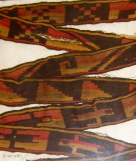 """Pre-Columbian Nazca culture camelid fiber band with anthropomorphic figures, probably a mummy wrap.  7' long, over 2"""" wide.  Both ends have been cut.  Please ask for additional photographs.   ..."""