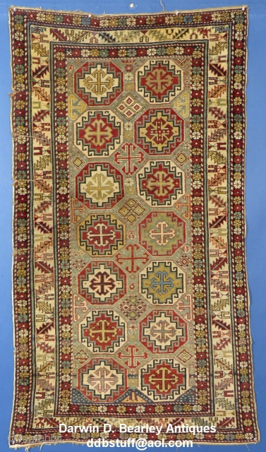 """Caucasian Moghan or Shirvan(?),c.1875-1900,  70"""" X 39"""", It has been used and shows signs of wear. There are NO holes. The main damage is along the one edge where there are 3 rough spots. It has  ..."""
