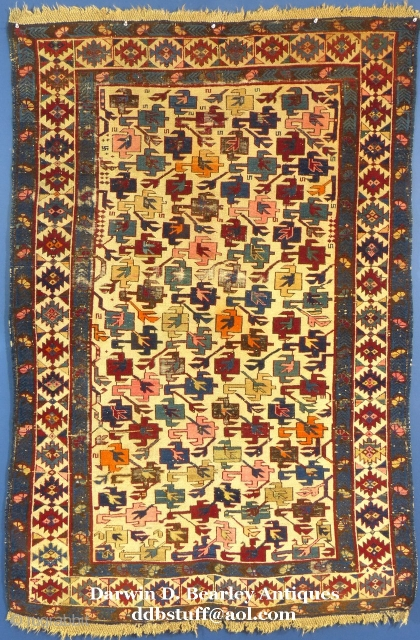 "Antique Caucasian Kuba, c. 1875-1900,70"" X 40"", Good condition with brown corrosion,