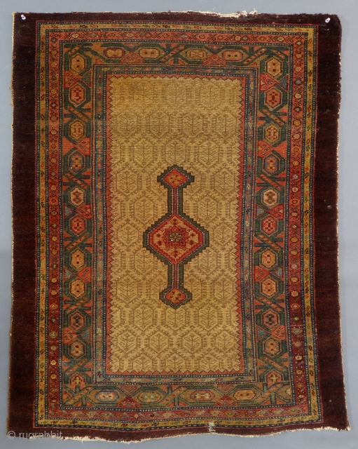 Antique Serab or Hamadan, c.1900, Has end and side wear, small hole but pile is in good overall condition.