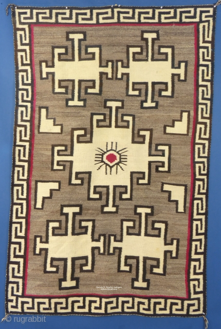 """Large American Navajo Pictorial Weaving,  c. 1920-40,  Excellent Condition with one very small hole,  Measures 78"""" x 50""""  SOLD"""