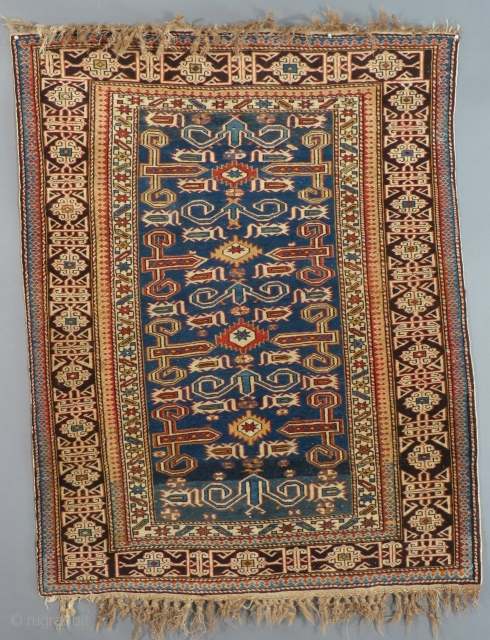"Antique Caucasian Prepidil Rug, C.1900-1915,, Wool, Excellent, almost unused condition, 55"" X 43"", Pile is perfect all over. Maintains most of it original fringe.