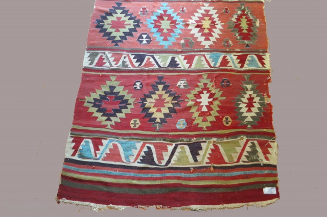 Anatolian kilim with 5 major patterned bands, 5 x 14 feet, circa 1800, excellent condition with minor losses to gray wool areas. The colored areas that appear black in the images is  ...