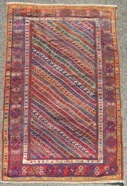 Antique kurdish carpet. 228 x 150 cm Fair condition Ends and sides restored
