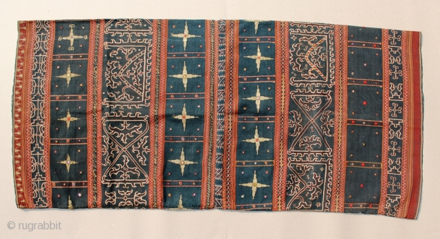 """19th Century Indonesian Textile call Saroong Tapis """"cucuanda"""" Lampung. Size: 134cm x 60cm. Good conditions. Please contact us for more large image or any inquiries."""