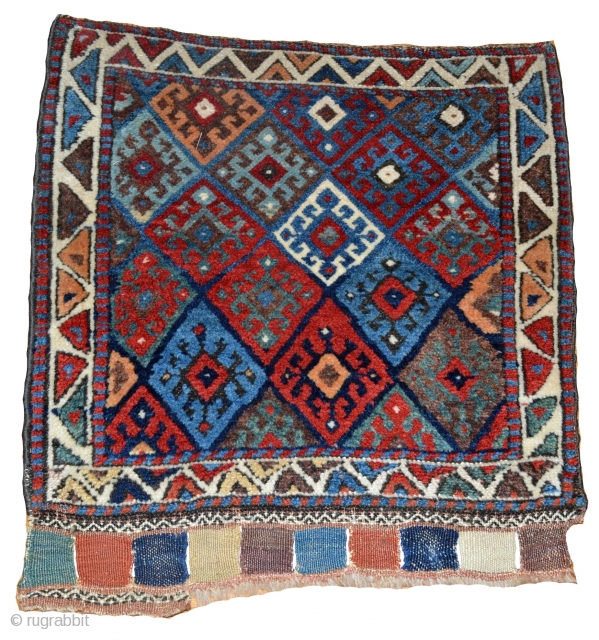 2 x 2.2 Antique Northwest Persian Kurdish Bag Face, Circa 1890.
